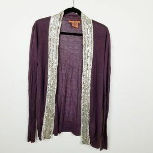 Tory Burch sequin knit cardigan M medium purple